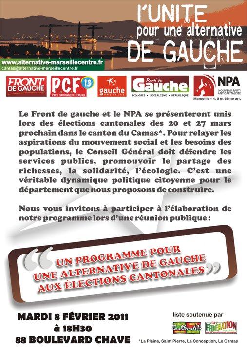 Aux cantonales, le 20 Mars 2011,votez et faites voter pour les candidats du Front de Gauche !