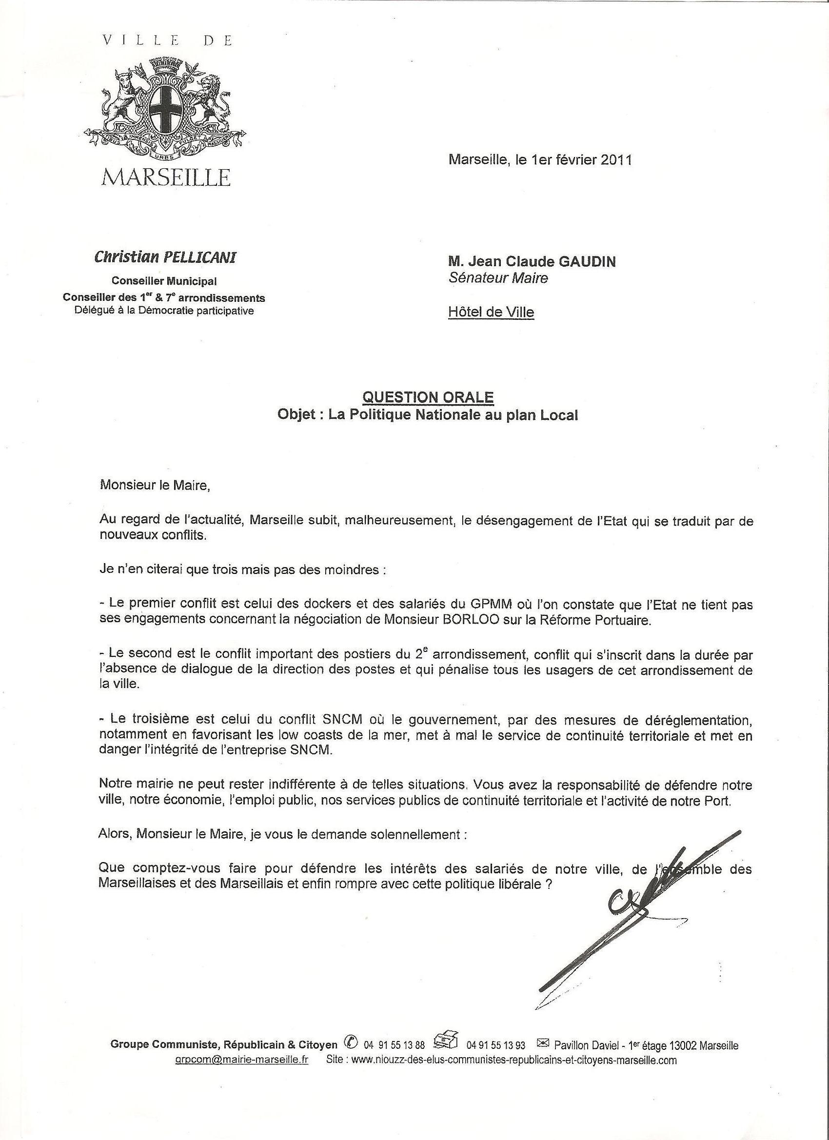 conseil Municipal du 7 février 2011: Faire entendre le Mouvement Social !