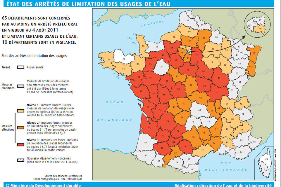 (2) Sécheresse :  65 départements français sont désormais concernés en date du 3 août.
