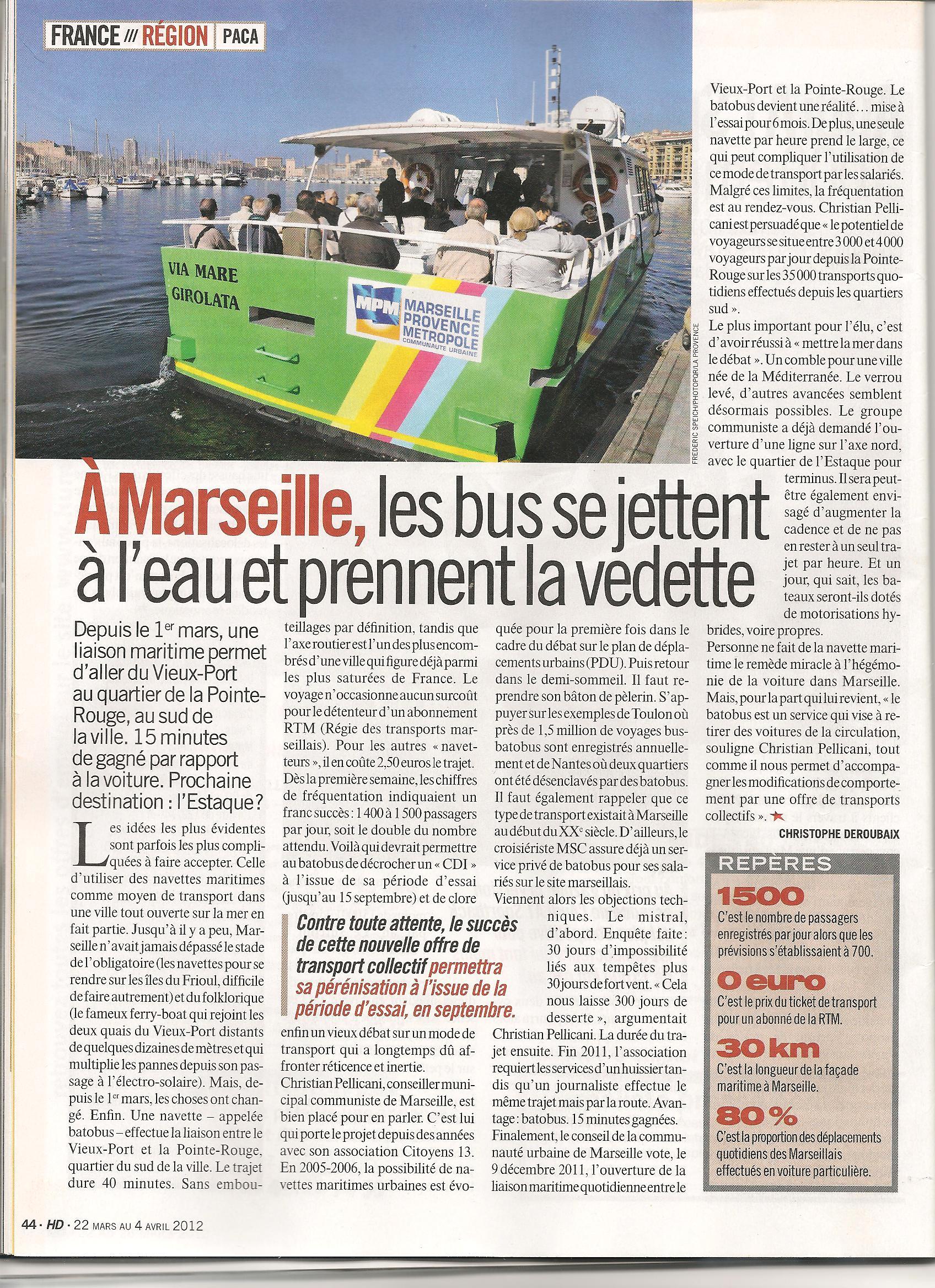 Bateaux Bus à l'honneur dans l'Huma Hebdo !