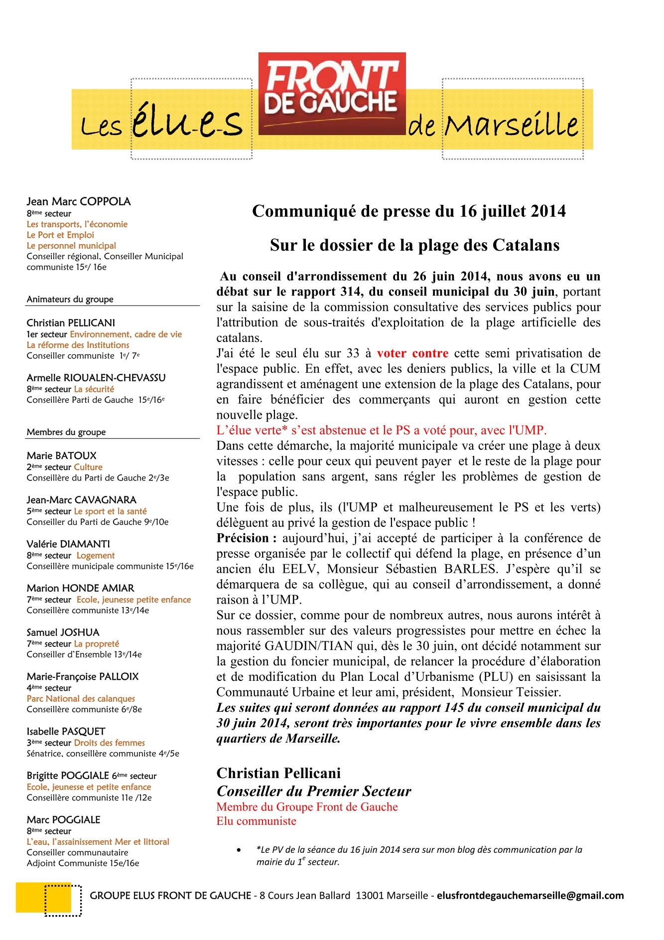 Communiqué de presse du 16 juillet:  Sur le dossier de la plage des Catalans