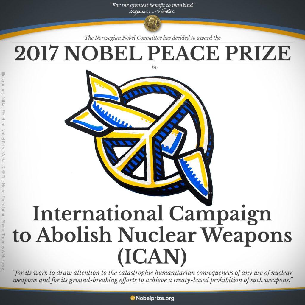 Le prix Nobel de la paix 2017 a été décerné à ICAN!