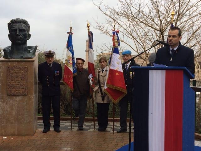 Au travers de l'intervention de Jéremy Bacchi, secrétaire départemental du PCF 13, les communistes rendent Hommage au Groupe Manouchian devant le buste de Missak Manouchian, Bd Charle LIvon !