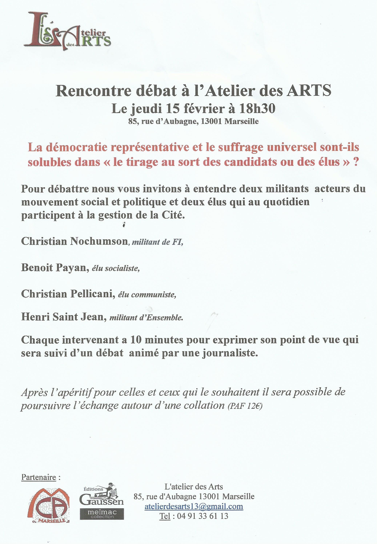 Atelier des ARTS : La démocratie représentative et le suffrage universel sont-ils solubles dans « le tirage au sort des candidats ou des élus » ?