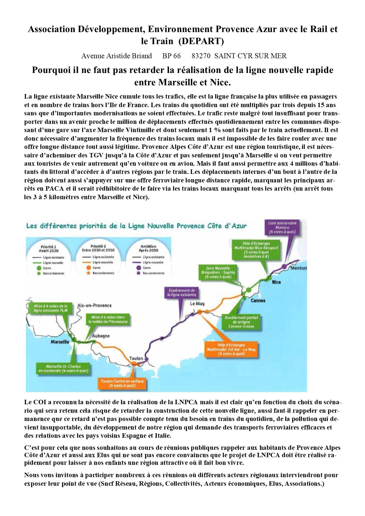 Pourquoi il ne faut pas retarder la réalisation de la ligne nouvelle rapide entre Marseille et Nice.