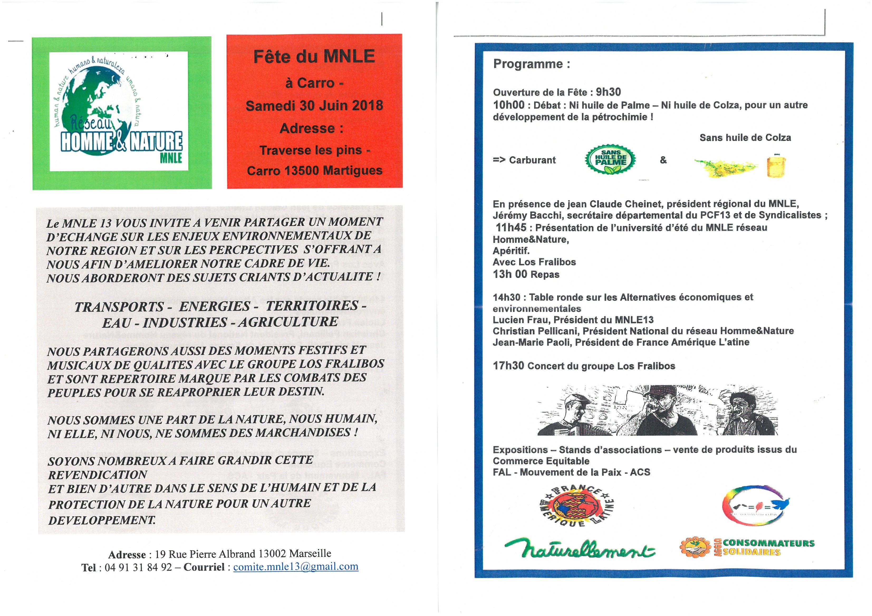 Fête du MNLE à CARRO, commune de Martigues,  samedi 30 juin 2018