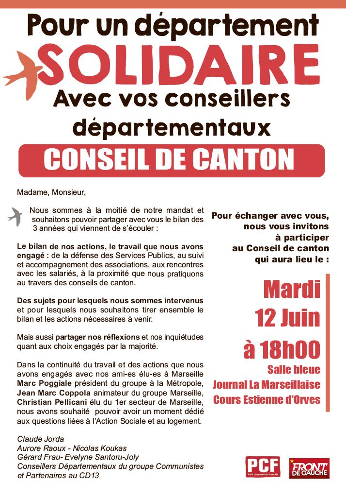 (1) Pour un département SOLIDAIRE : Réunion le 12 juin 2018 à 18h00  Salle bleu (la marseillaise)