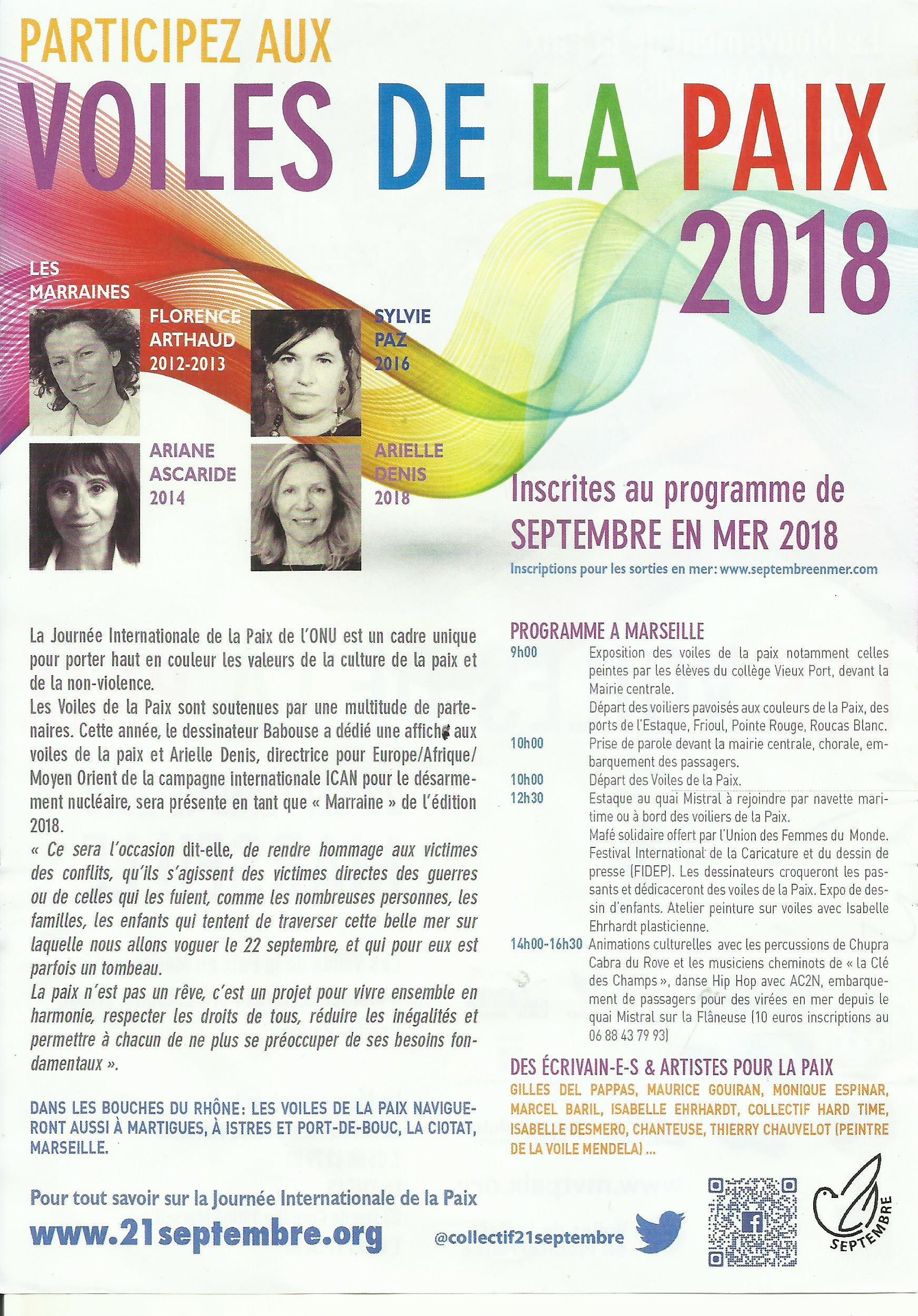 Culture de paix : Les voiles de la paix le 22 septembre à Marseille