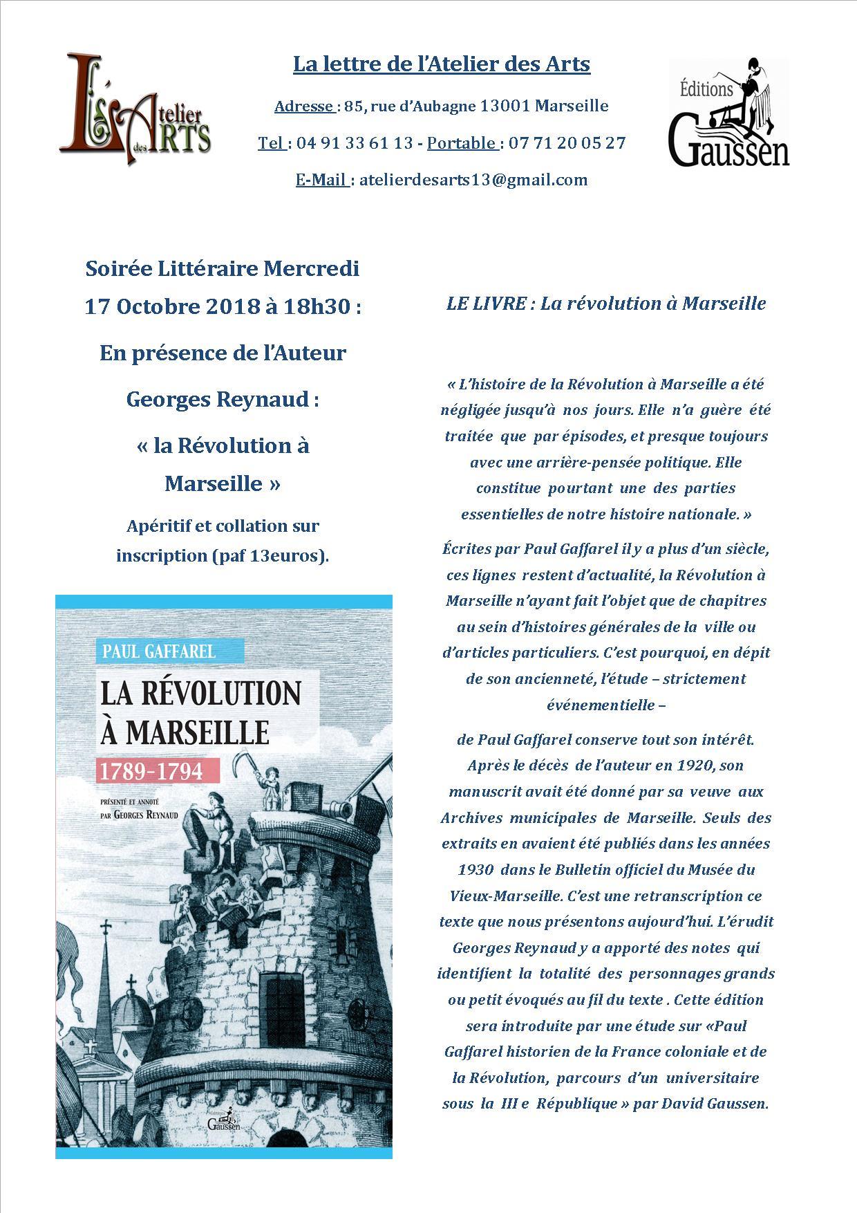 La Révolution de 1789 à Marseille en débat à l'Atelier des Arts le 17 octobre