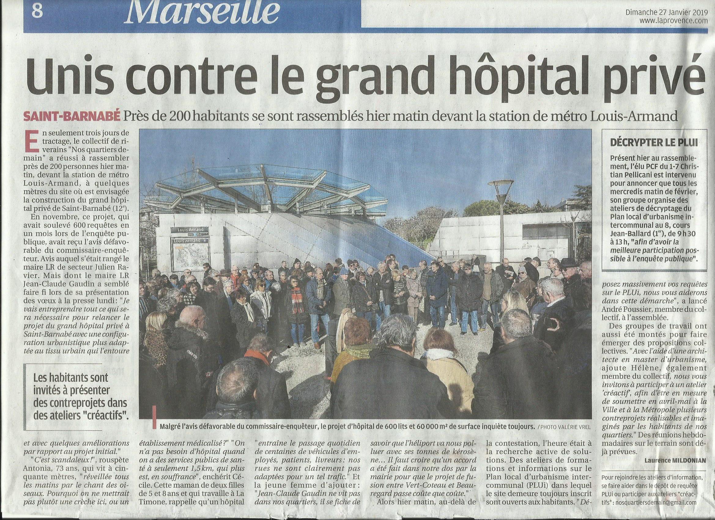 (1) Marseille, Rassemblement contre le projet d'Hôpital Privé à la sortie du Métro LOUIS ARMAND LE 26 JANVIER 2019 à 11h00 :   Par le collectif «Nos Quartiers Demain»  Non à la construction d'un Hôpital privé !