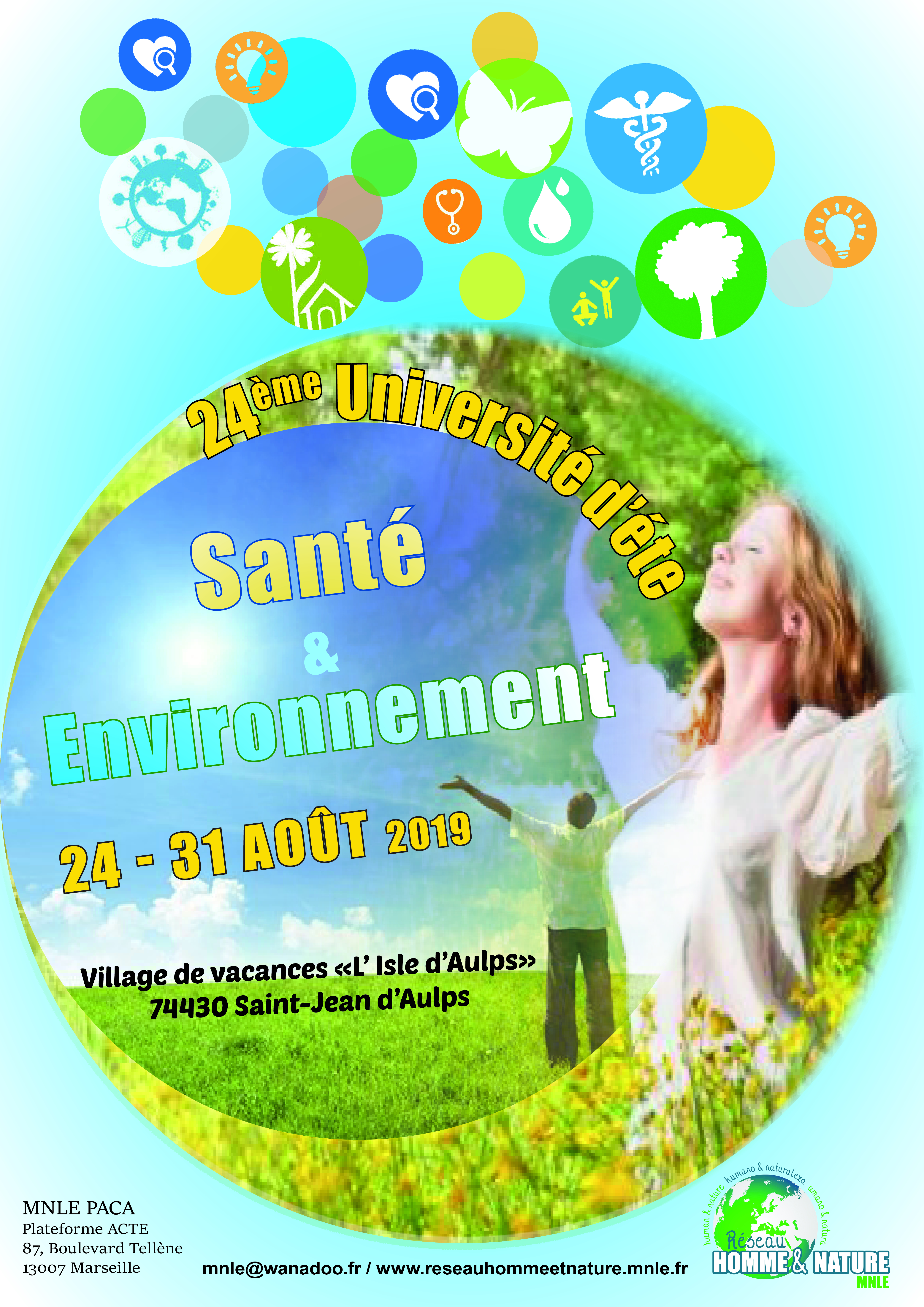 1er Annonce : XXIVe université d'été Santé & Environnement à vos agendas !