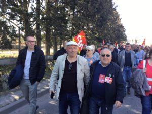 Claude Jorda, Conseiller Départemental et christian Pellicani, MNLE dans la Manifestation