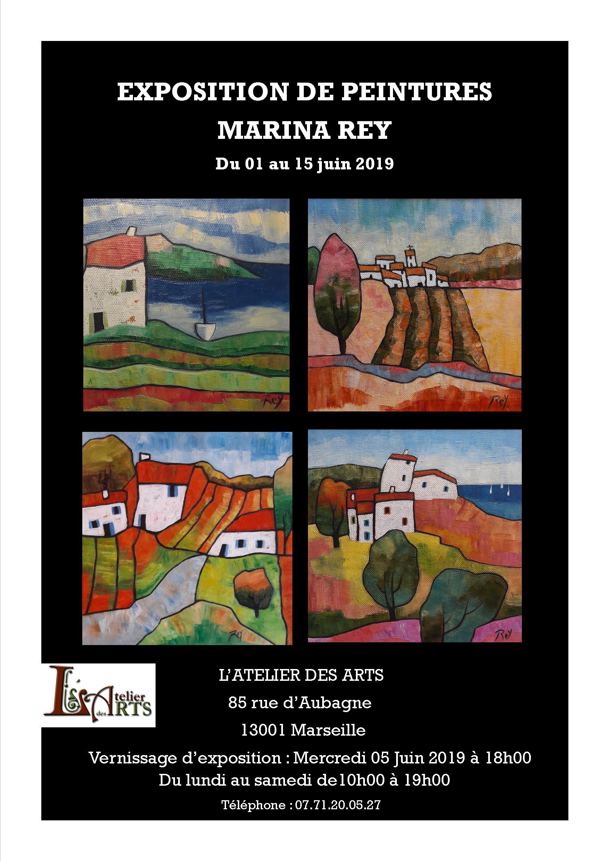 Galerie de l'Atelier des ARTS : exposition de peinture de Marina Rey du 01 au 15 juin 2019