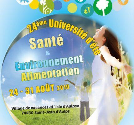 (2) Le tour des Universités  – MNLE Santé Environnement : L' Alimentation en débat du 24 au 31 août 2019
