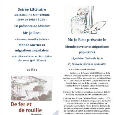 Soirées littéraires de  l'Atelier des ARTS :  Jo Rosnous parlerad'un livre poésie «Sirène de Syrie» et d'un livre «Nouvelle de Fer et de Rouille»