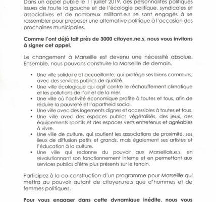 Marseille 2020 (Acte 2) : Vendredi le «Mouvement Sans Précédent» donne à voir à la presse ! En avant pour tourner les pages de l'ère Gaudin.