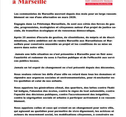 Marseille 2020 : PCF pour une large Union à Marseille / Tous sur le Vieux Port ce mercredi 30 octobre à 11h00