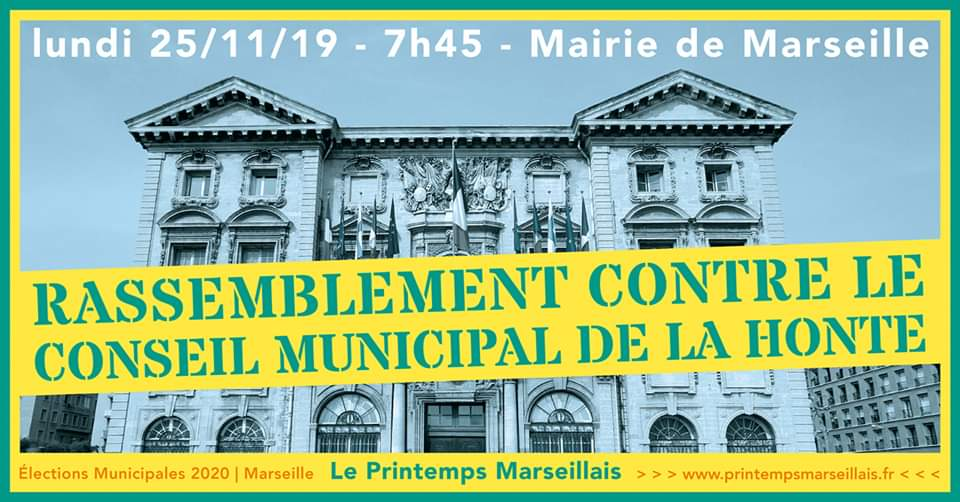 Lundi 25 novembre 2019 : Rassemblement contre le Conseil Municipal de la Honte