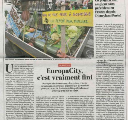 (2) Europacity : « Une belle victoire contre les forces de l'argent » article du quotidien l'Humanité