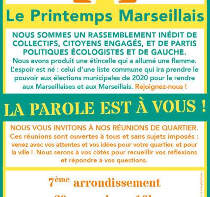 Samedi 30 novembre 2019 : 1er réunion public / écriture  à plusieurs mains du projet pour Marseille – Une deuxième rencontre le 7 décembre suivie d'une restitution publique le 9 décembre  à l'Agora Guy Hermier