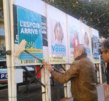 (9) Printemps Marseillais : Rencontre entre le printemps et les panneaux électoraux
