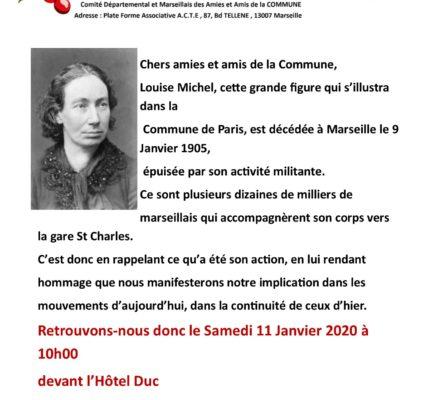 Hommage à Louise Michel ce samedi à 10 h00 Bd Dugomier 13001 Marseille