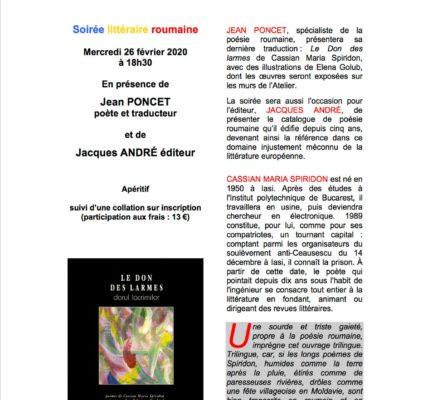 Mercredi 26 Février 2020 – soirée littéraire avec l'auteur Jean PONCET à la Galerie «l'Atelier des Arts»