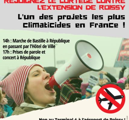 Nous marcherons pour dire NON AU PROJET DU TERMINAL 4 à ROISSY, lors de la MARCHE POUR LE CLIMAT à PARIS.