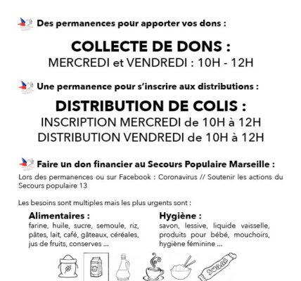 (19) Résistance à la crise sanitaire : L'antenne du Secours Populaire Français (SPF) à l'Agora Guy – installation sur l'espace public d'un présentoir –