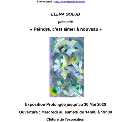 Déconfinement de la Galerie de  l'Atelier des Arts samedi 30 mai 2020  avec l'artiste peintre ELENA GOLUB