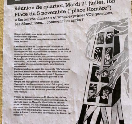 Réunion Place Homère (13001) : Le collectif du 5 Novembre -Actif – rassembleur et mature dans l'organisation du travail citoyen pour participer à la réhabilitation de la rue d'Aubagne.