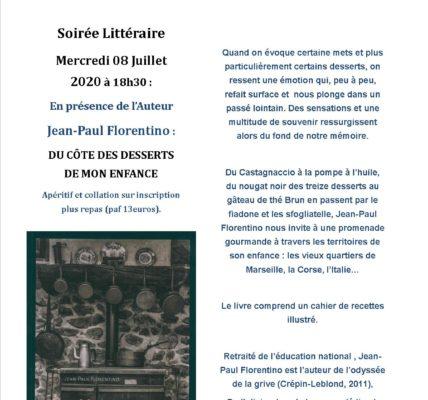 Atelier des ARTS : Soirée littéraire –  Jean-Paul Florentino : DU CÔTE DES DESSERTS DE MON ENFANCE