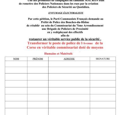 (2) Tranquillité publique, sécurité : Pétition pour un véritable commissariat à l'Avenue de la Corse – 13007 Marseille