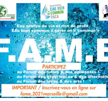 (1) FAME 2021 Marseille : – Retrouvez dans la revue Naturellement la Charte du FAME2021 à Marseille – Les acteurs du FAME 2012 sont appelés à se mobiliser de nouveau !