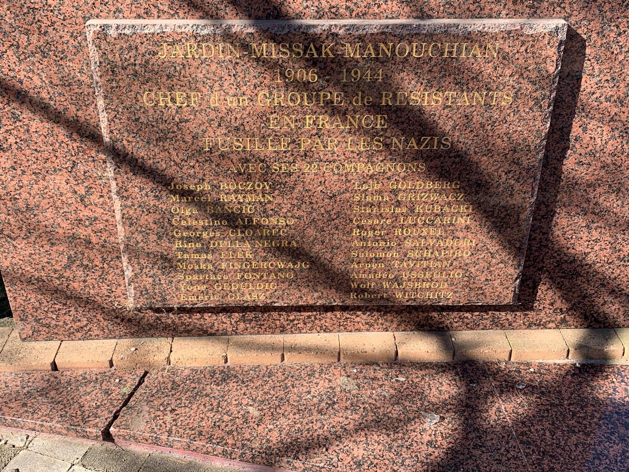 MISSAK MANOUCHIAN : Hommage à notre Camarade exécuté le 21 février 1944 avec 22 autres membres du groupe «Manouchian-Boczov» que le poète Louis Aragon immortalisera par l'Affiche Rouge.