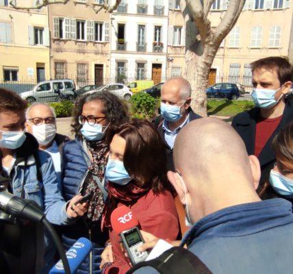 (45) Marseille mandature 2020/2026 :  Marseille Centre – Conférence de presse dans le square de la Place Labadié rouvert au public comme l'ensemble des jardin du 1er secteur.