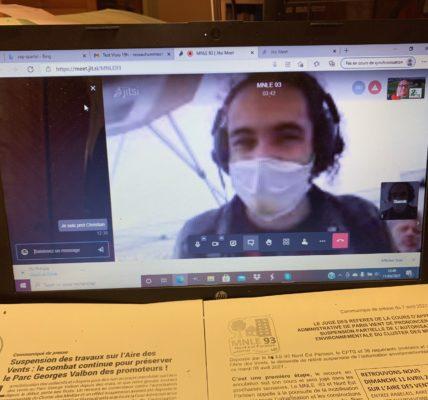 Mobilisation contre le chantier des JO 2024 qui entraine la destruction de l'Aire des vents à DUGNY : Rassemblement à l'initiative du MNLE et de collectifs – participation innovante  à partir de Marseille par visioconférence.