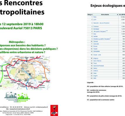 (1) première annonce : Le 12 septembre / rencontres Métropolitaines