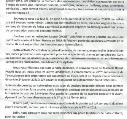 78-ème anniversaire de l'évacuation et de la déportation de la population du Quartier St Jean  à Marseille
