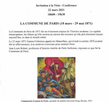 (2) Amies et Amis de la Commune (1871) –  Cap sur le 150e anniversaire : Conférence de Jean louis ROBERT, Historien, en Visio conférence ! 22 mars 2021 à 18h00.