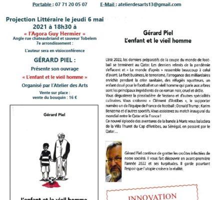 Innovation : Soirée littéraire le 6 mai en présentiel et Visioconférence – Présentation par Gérard PIEL de son dernier livre : L'enfant et le vieil homme –