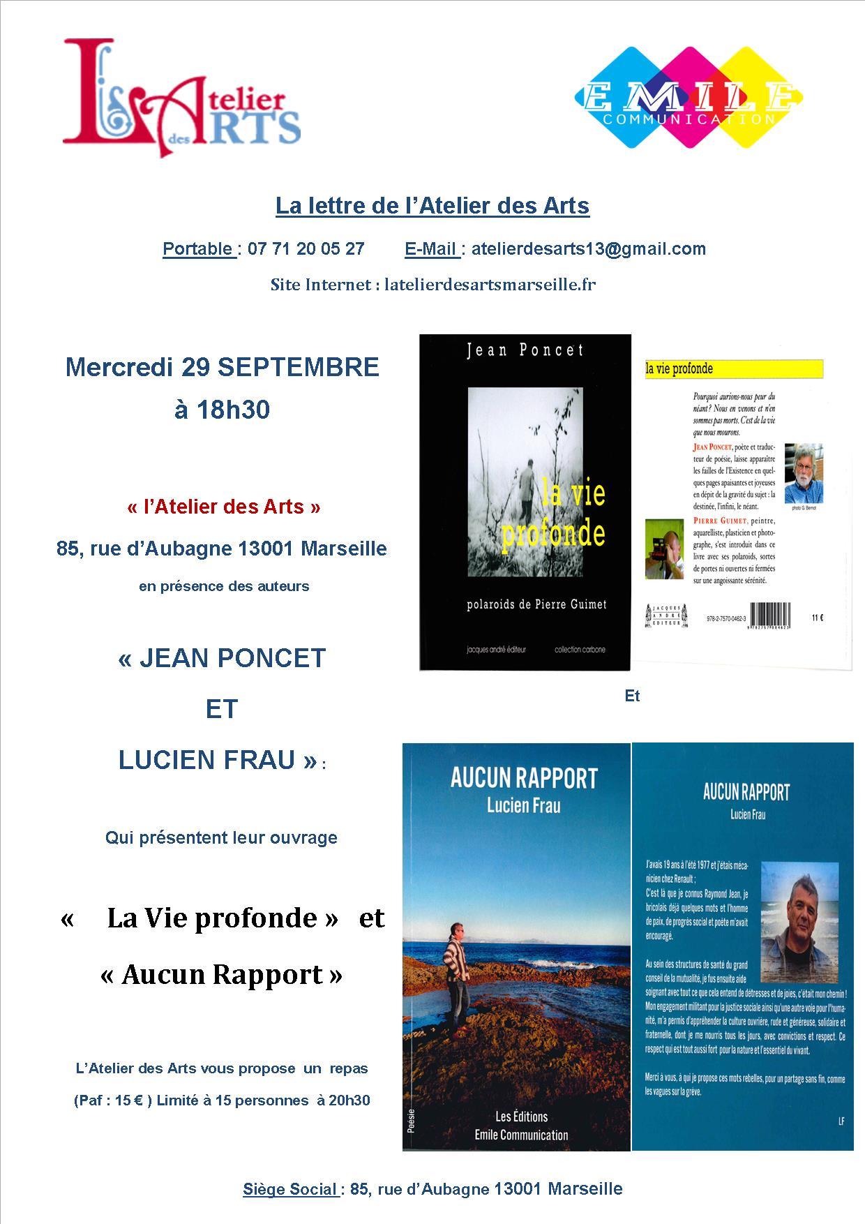 #Atelier des Arts : La poésie au menu de la soirée  avec Lucien Frau et Jean Poncet